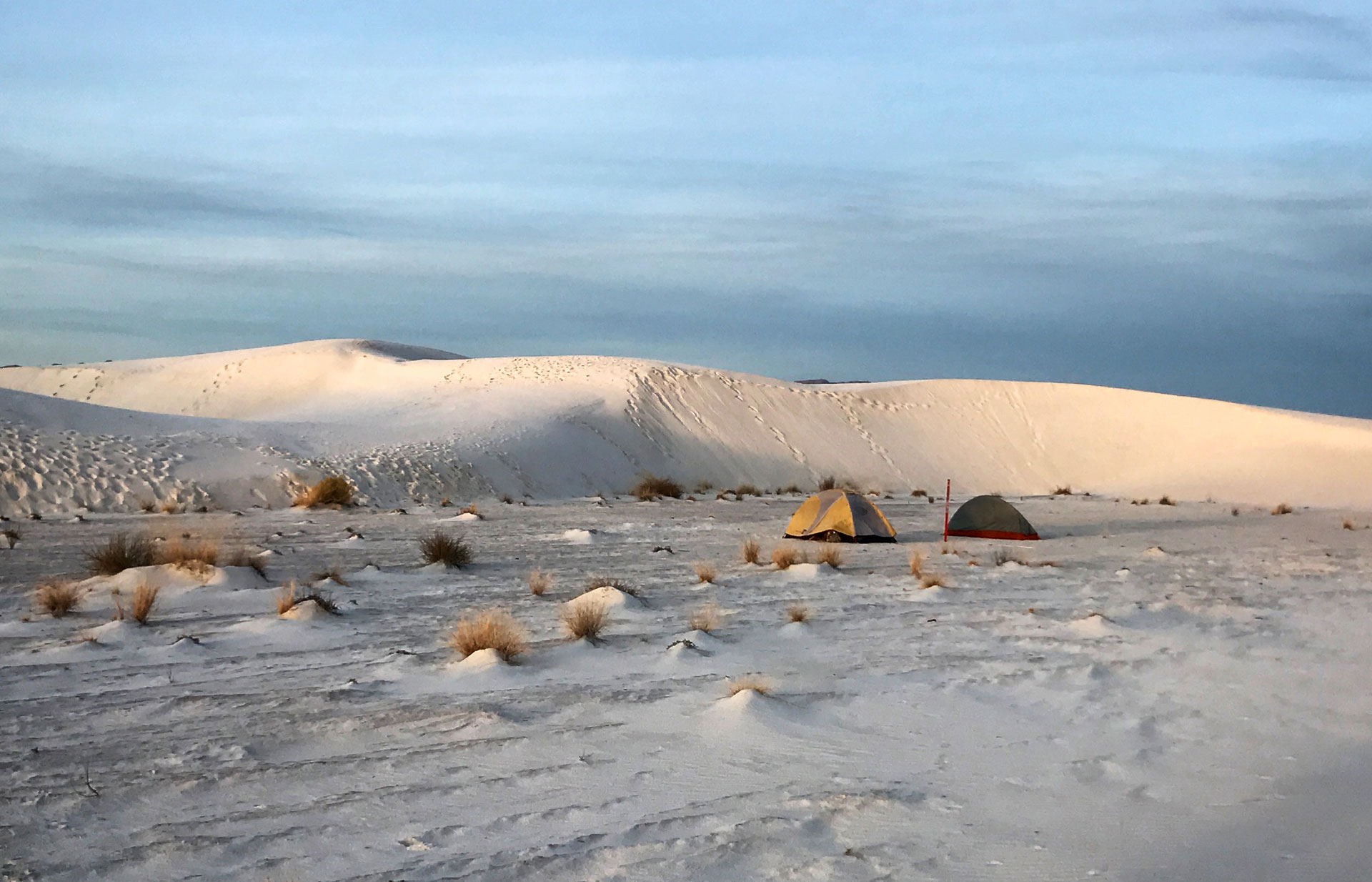 Photograph: Two tents are seen at sunrise in the middle of the sand dunes of White Sands National Monument.